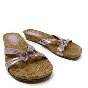 Gianni Bini Pink Metallic Cork Sandal Size 8